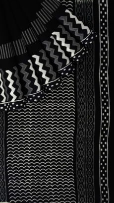 Black & White Geometric Hand Block Printed Cotton Saree-yespoho