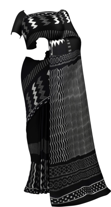 Black & White Geometric Hand Block Printed Cotton Saree Cotton Sarees Thanksgiving Winter Sale Yespoho Sarees Handpicked Collections New Arrivals