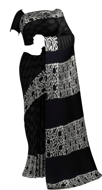 Black & White Circle Hand Block Printed Cotton Saree Cotton Sarees Thanksgiving Winter Sale Yespoho Sarees Handpicked Collections New Arrivals
