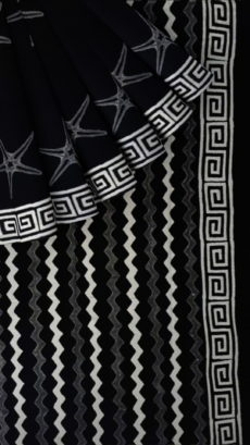 Black & white hand block printed cotton saree-yespoho