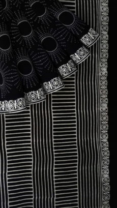 Black & White Sun Hand Block Printed Cotton saree-yespoho