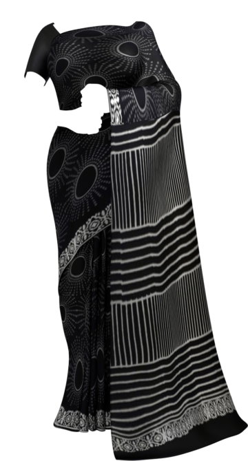 Black & White Sun Hand Block Printed Cotton saree Cotton Sarees Thanksgiving Winter Sale Yespoho Sarees Handpicked Collections New Arrivals