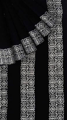 Black & White Paisley  Hand Block Printed Cotton Saree-yespoho