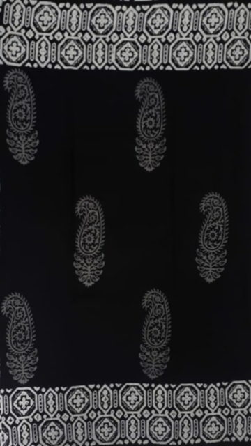 Yespoho Black & White Paisley  Hand Block Printed Cotton Saree