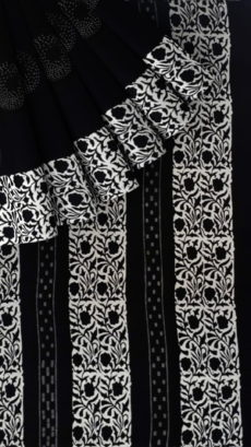 Black & White Creative Polka Dot Hand Block Printed Cotton Saree-yespoho