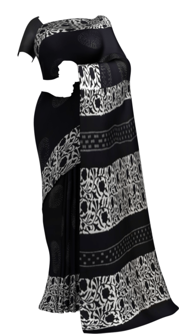 Black & White Creative Polka Dot Hand Block Printed Cotton Saree Cotton Sarees Thanksgiving Winter Sale Yespoho Sarees Handpicked Collections New Arrivals