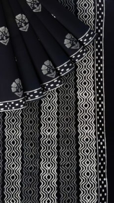 Black & White Hand Floral Block Printed Cotton Saree-yespoho