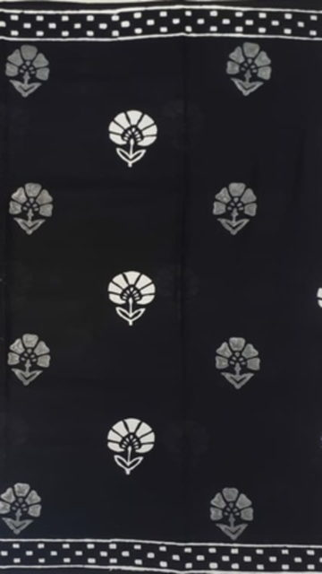 Yespoho Black & White Hand Floral Block Printed Cotton Saree