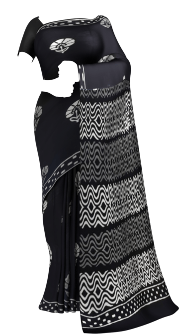 Black & White Hand Floral Block Printed Cotton Saree Cotton Sarees Saree25 Yespoho Sarees Handpicked Collections