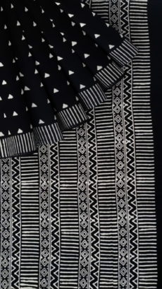 Black & White Triangle Motif Hand Block Printed Cotton Saree-yespoho