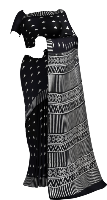 Black & White Triangle Motif Hand Block Printed Cotton Saree Cotton Sarees Thanksgiving Winter Sale Yespoho Sarees Handpicked Collections New Arrivals