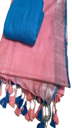 Light Pink & Blue Plain Slub Cotton Saree-yespoho