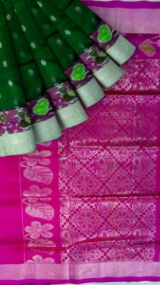 Dark Green & Magenta Pink Designer Traditional Silk Cotton Saree-yespoho
