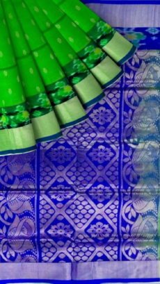 Light Green & Royal  Blue Designer Traditional Silk Cotton Saree-yespoho