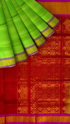 Red & Light Green Designer Traditional Silk Cotton Saree-yespoho