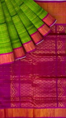 Magenta pink  &  Green Designer Traditional Silk Cotton Saree-yespoho