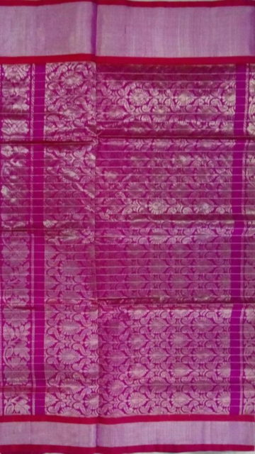 Dark Pink Dark pink  &  Royal Blue Designer Traditional Silk Cotton Saree