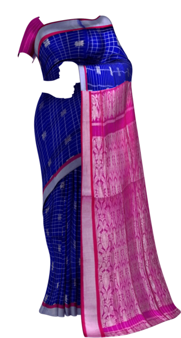 Dark pink  &  Royal Blue Designer Traditional Silk Cotton Saree Silk Cotton Sarees Yespoho Sarees