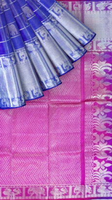 Hot pink  &  Royal Blue Designer Traditional Silk Cotton Saree-yespoho