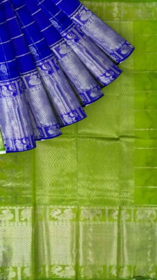 Lime Green &  Royal Blue Designer Traditional Silk Cotton Saree-yespoho