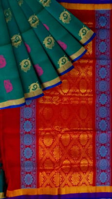 Sea Green & Red Designer Traditional Silk Cotton Saree-yespoho