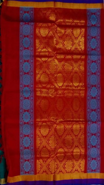 Red Sea Green & Red Designer Traditional Silk Cotton Saree