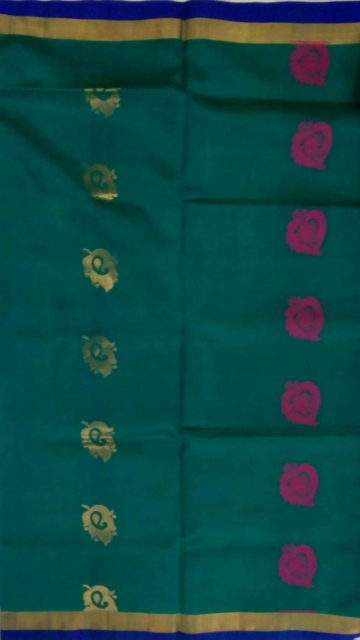 Yespoho Sea Green & Red Designer Traditional Silk Cotton Saree