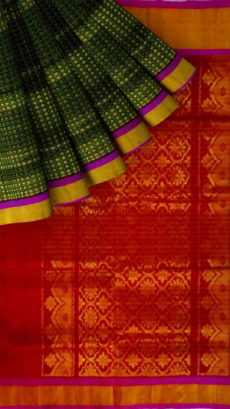 Red & Dark Green Designer Traditional Silk Cotton Saree-yespoho