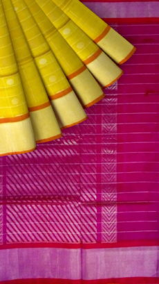 Dark Pink& Light Green Designer Traditional Silk Cotton Saree-yespoho