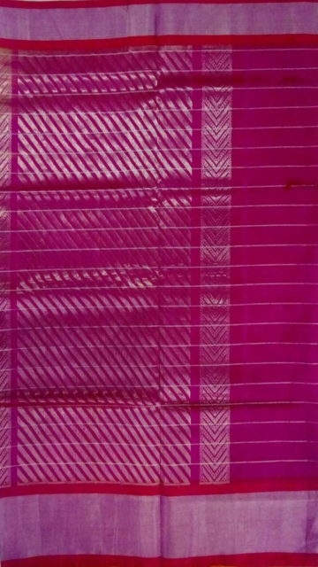 Dark Pink Dark Pink& Light Green Designer Traditional Silk Cotton Saree