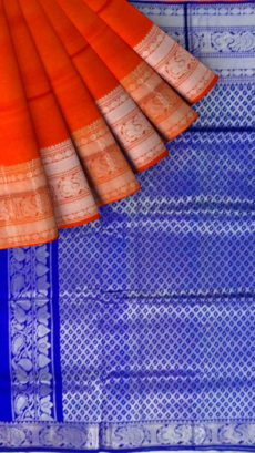 Royal Blue & Orange Designer Traditional Silk Cotton Saree-yespoho