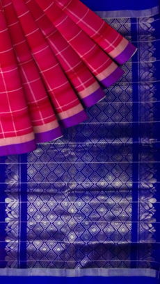 Dark Pink & Royal Blue  Designer Traditional Silk Cotton Saree-yespoho