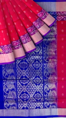 Rose Pink & Royal Blue  Designer Traditional Silk Cotton Saree-yespoho