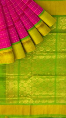 Magenta Pink & Light Green Designer Traditional Silk Cotton Saree-yespoho