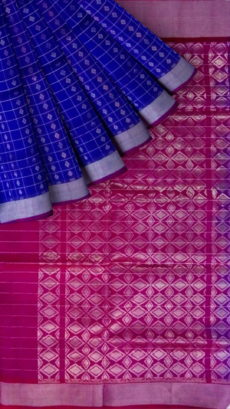 Magenta Pink & Royal Blue Designer Traditional Silk Cotton Saree-yespoho