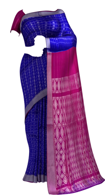 Magenta Pink & Royal Blue Designer Traditional Silk Cotton Saree Silk Cotton Sarees Yespoho Sarees