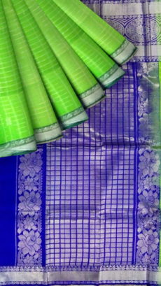 Parrot Green & Royal Blue Designer Traditional Silk Cotton Saree-yespoho