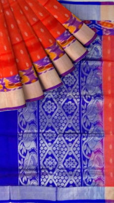 Orange & Royal Blue Designer Traditional Silk Cotton Saree-yespoho