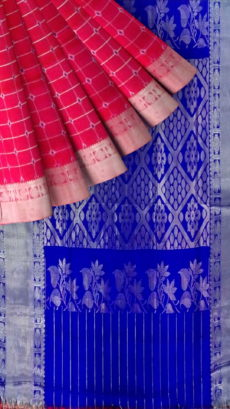 Pink & Blue Traditional Designer  Silk Saree-yespoho