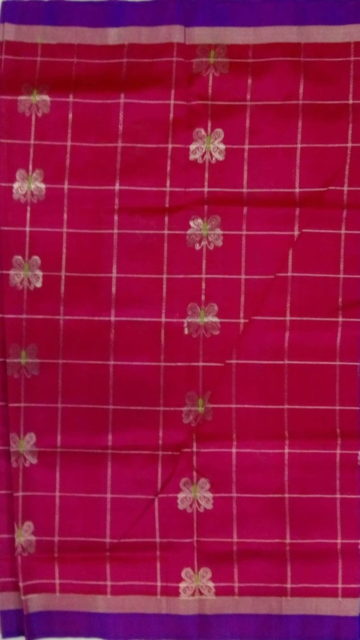 Yespoho Royal Blue & Pink Designer Traditional Silk Cotton Saree