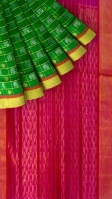 Light Green & Dark Pink Designer Traditional Silk Cotton Saree-yespoho