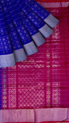 Royal Blue &Dark Pink Designer Traditional Silk Cotton Saree-yespoho
