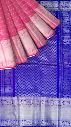 Royal Blue & Baby Pink Designer Traditional Silk Cotton Saree-yespoho