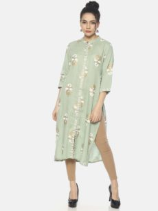 Mytri Women's Green Viscose Printed Straight Kurta-yespoho