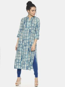 Mytri Women's Blue Viscose Printed Straight Kurta-yespoho
