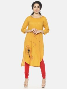 Mytri Women's Yellow Viscose Print Straight Kurta-yespoho