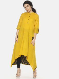 Mytri Women's Yellow Cambric Solid Anarkali Kurta-yespoho