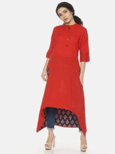 Mytri Women's Red Cambric Solid Anarkali Kurta-yespoho
