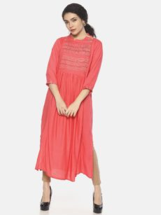 Mytri Women's Pink Viscose Solid/Embroidery A-Line Kurta-yespoho