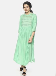Mytri Women's Green Viscose Solid/Embroidery  A-Line Kurta-yespoho